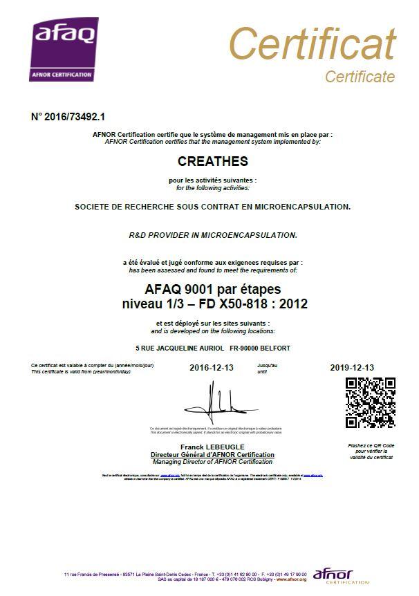 Certificat AFNOR ISO 9001 Niv1 - CREATHES spécialiste en microencapsulation de la R&D à la production