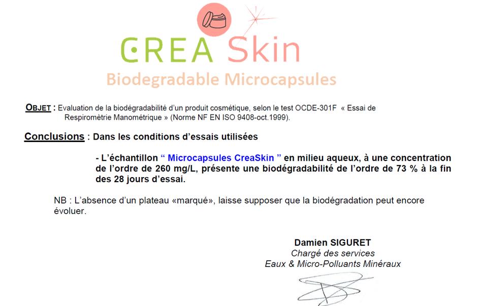 Biodegradable-CreaSkin-microcapsules